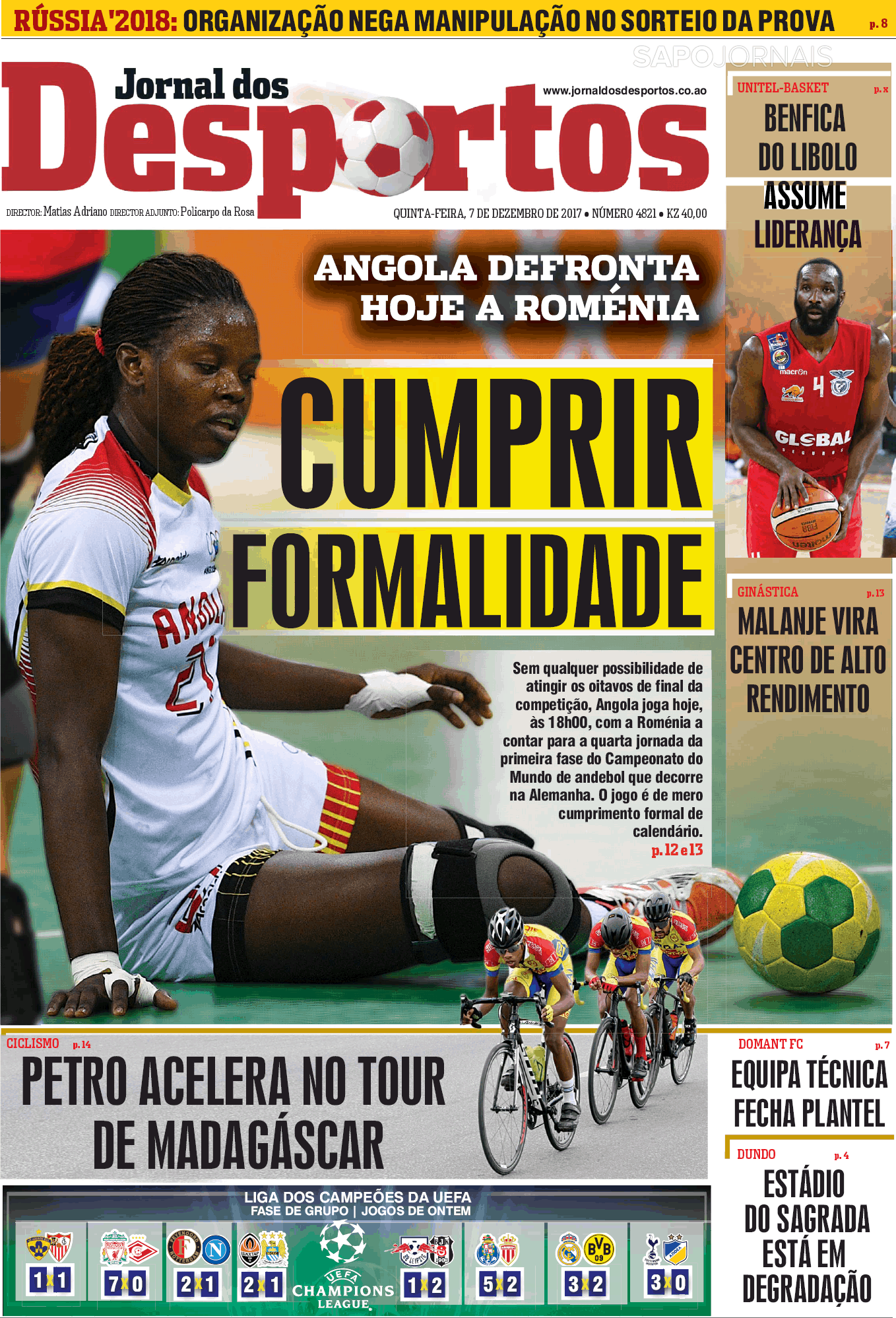 jornal dos desportos  7 dez 2017  - jornais e revistas